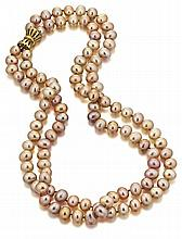 Double Strand Multi-Pastel Color Freshwater Cultured Pearl and 14kt Yellow Gold Lady's Necklace, L.17-17 1/2