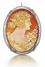 14kt White Gold and Shell Cameo Lady's Brooch/ Pendant, L.2