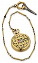 French 18kt Yellow Gold and Enamel Hunter Case Pocket Watch and 14kt Fob Chain w/ Key