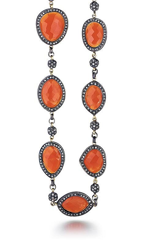 Silver, Yellow Gold, Carnelian and Diamond Lady's Necklace, L.27