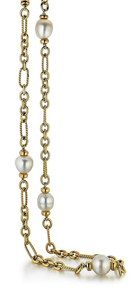 David Yurman, 18t Yellow Gold, Diamond and South Sea Cultured Pearl Lady's Necklace, L.33