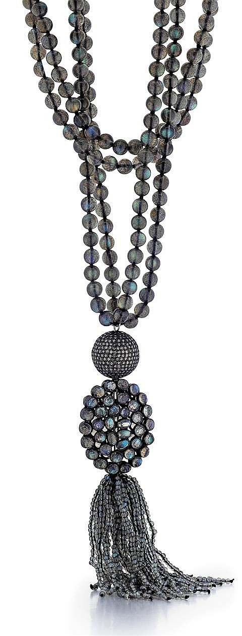 Silver, Laboradite Bead and Diamond Lady's Tassel Style Necklace, L.33-37 1/2