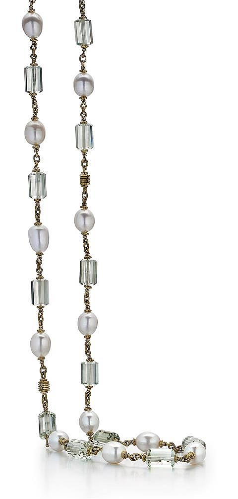Judith Ripka, 18kt Yellow Gold, Blue-Green Quartz and Cultured Pearl Lady's Necklace, L.40