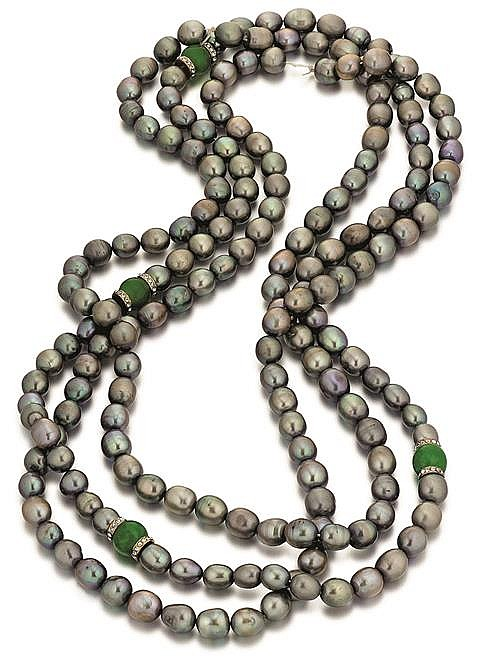 Gray Cultured Pearl Necklace, 3 Strands