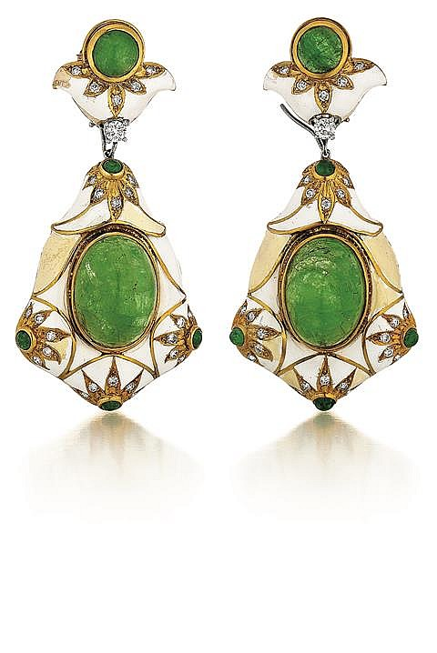 18kt Yellow Gold, Emerald, Diamond and Enamel Lady's Earrings, Pair