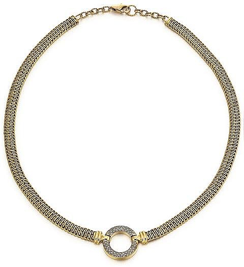 14kt Yellow Gold and Diamond Circular Pave' Set Diamond Necklace , L.19