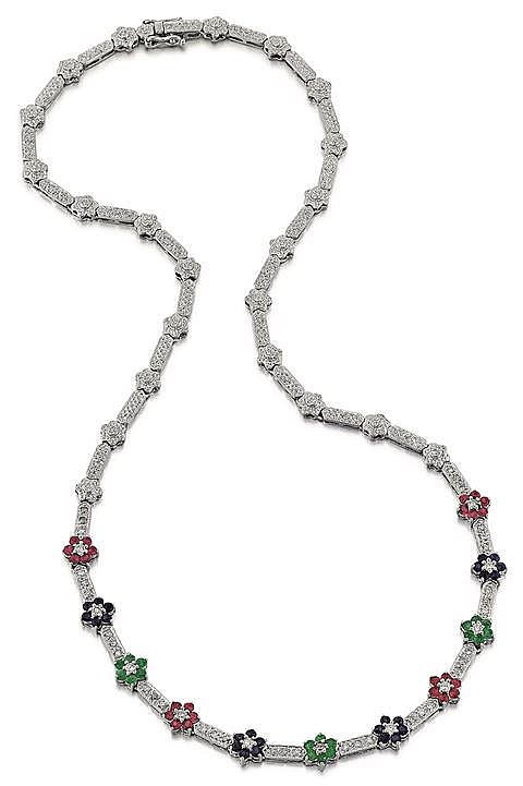 14kt White Gold, Ruby, Blue Sapphire, Emerald and Diamond Lady's Necklace, L.16 1/2