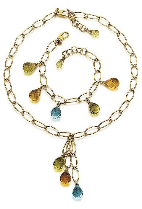 18kt Yellow Gold, Citrine, Blue Topaz and Peridot Briolette Necklace and Bracelet, 2 Pc.