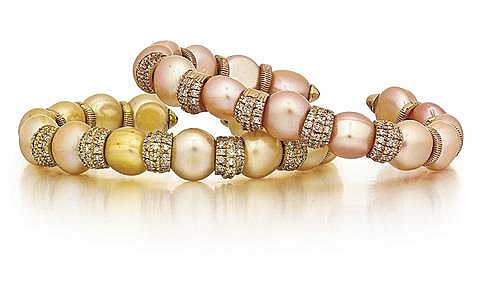 14kt Rose Gold and 14kt Yellow Gold and Diamond Bracelets, 2 Pc.