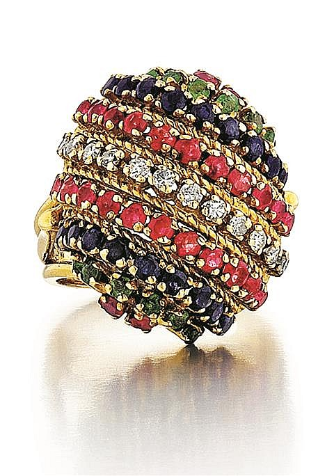 18kt, Yellow Gold, Diamond, Ruby, Sapphire and Emerald Lady's Ring