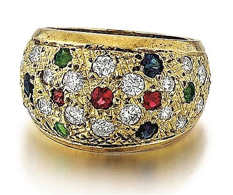 14kt Yellow Gold, Diamond, Blue Sapphire, Emerald and Ruby Lady's Ring