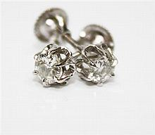 14kt White Gold and Diamond Lady's Stud Earrings, Pair