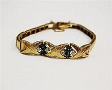 14kt Yellow Gold, Diamond and Emerald Lady's Bracelet