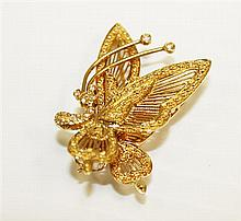 18kt Yellow Gold and Diamond Lady's Butterfly Pin