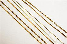 14kt Yellow Gold Neck Chain Grouping, 7pc