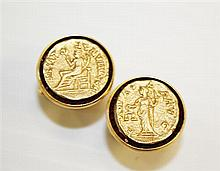 Lucien Piccard, 14kt Yellow Gold Gent's Cufflinks, Pair