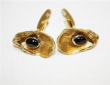14kt Yellow Gold and Gemstone Gent's Cufflinks, Pair