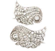Art Deco, Platinum and Diamond Lady's Brooches, Pair