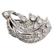 Art Deco, Platinum and Diamond Lady's Half Clip Brooch
