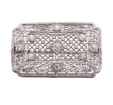 Platinum, 14kt White Gold and Diamond Lady's Brooch