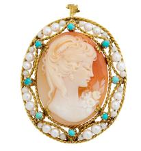 18kt Yellow Gold, Cameo, Seed Pearl and Turquoise Brooch/Pendant