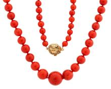 14kt Yellow Gold and Coral Bead Lady's Necklace, L. 27 1/2
