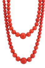 Coral Bead Necklaces, 6 pcs