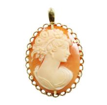 14kt Yellow Gold, Shell Cameo Pin/Pendant