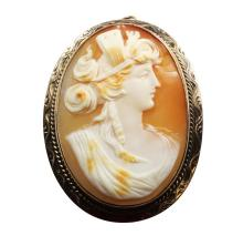 10kt Yellow Gold, Shell Cameo Pin/Pendant