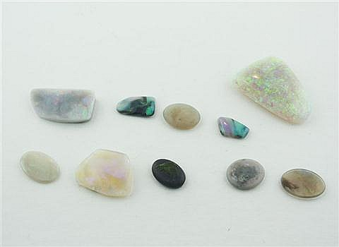 Grouping of opals, 10 loose