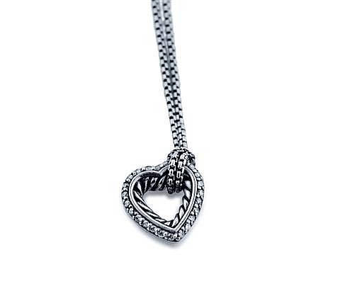 David Yurman, Sterling Silver and Diamond Lady's Heart Pendant