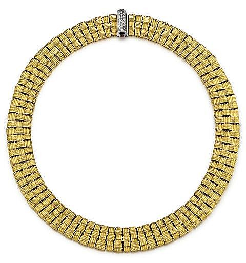 Roberto Coin, 18kt Yellow Gold, Diamond and Ruby Lady's Necklace, L. 15