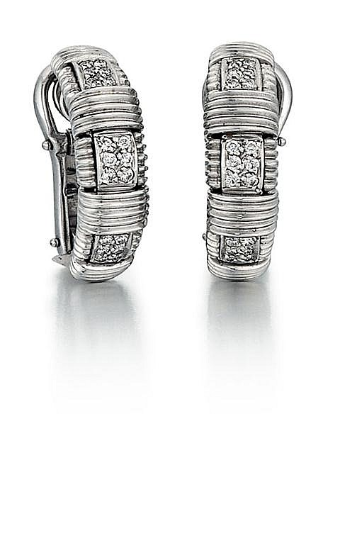 18kt White Gold, Diamond and Ruby Lady's Earrings, Pair