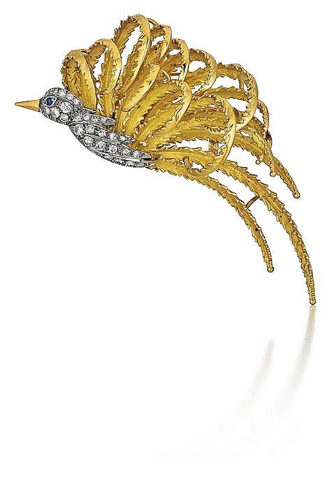 18kt Yellow Gold, Platinum, Diamond and Blue Sapphire Lady's Bird Pin