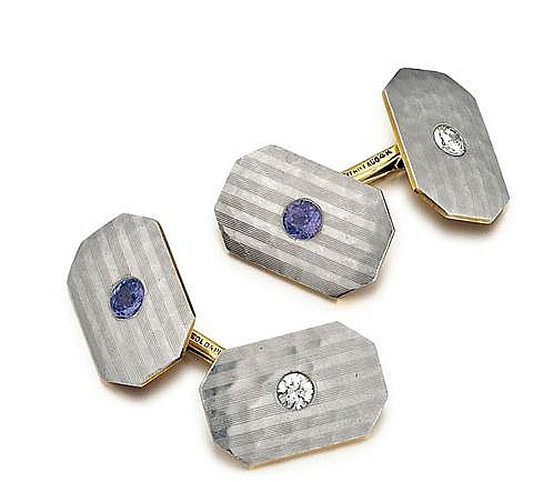 Tiffany & Co., Platinum, 14kt Yellow Gold, Sapphire and Diamond Cufflinks, Pair