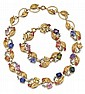 Tiffany & Co., Fancy Sapphire, Diamond and Pearl Lady's Necklace and Bracelet Set, C.1940-50