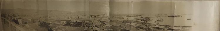 Antonio Esplugas (1852 - 1929) Barcelona, vista panorámica de la ciudad y el puerto, década de 1880