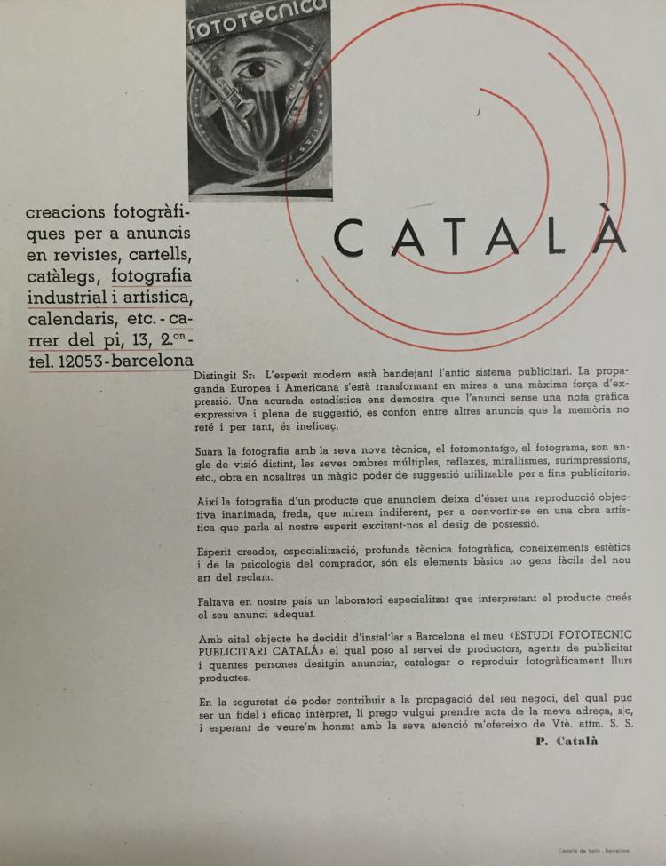 Pere Català Pic (1889-1971) Manifiesto de la fotografía publicitaria, 1931