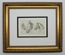 Leonardo da Vinci Study of Horses Antique Print