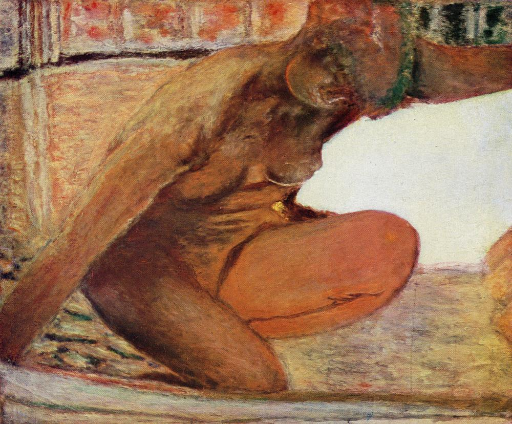 Reclining nude against a white and blue plaid painting by pierre bonnard