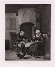 Abraham de Pape The Repast print signed