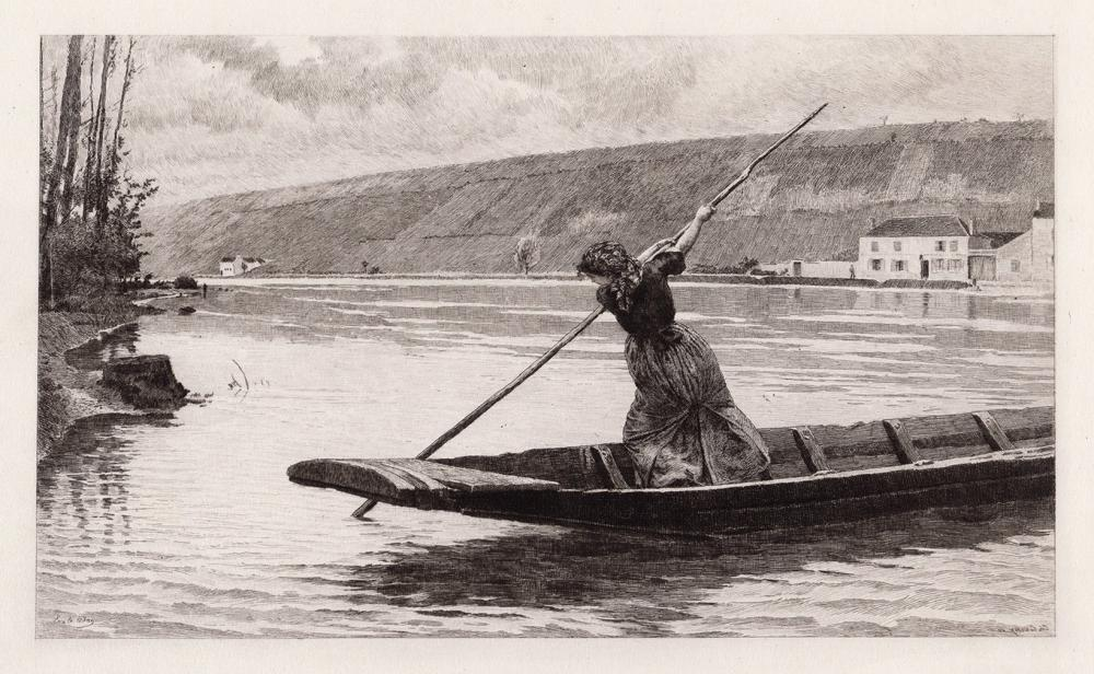 Louis Adan 1884 etching The Ferryman's Daughter signed
