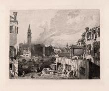 1876 Canaletto View in Venice (The Stonemason's Yard) etching signed