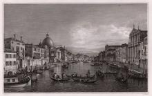 1834 Canaletto Grand Canal Venice engraving signed