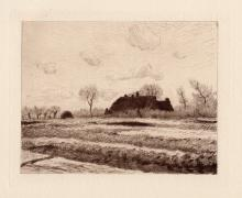 Claude Monet 1800's Etching Field of Tulips in Holland