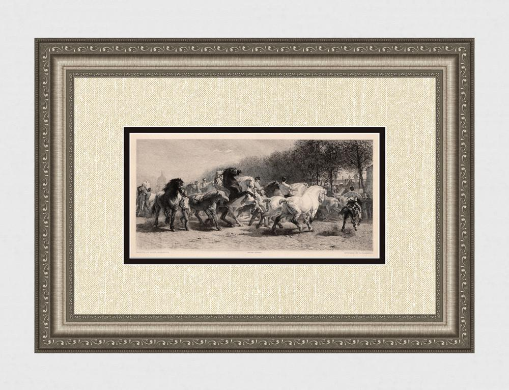Rosa BONHEUR 1800s Etching The Great Horse Fair SIGNED Framed