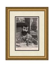 Sir Lawrence Alma Tadema 1887 woodcut Portrait of Signor G.B. Amendola signed