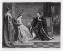 William Frederick Yeames 1876 engraving The Wooing of Henry V signed