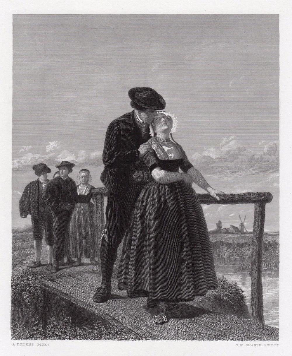 Adolf Alexander Dillens Taking Toll at the Bridge 1875 engraving