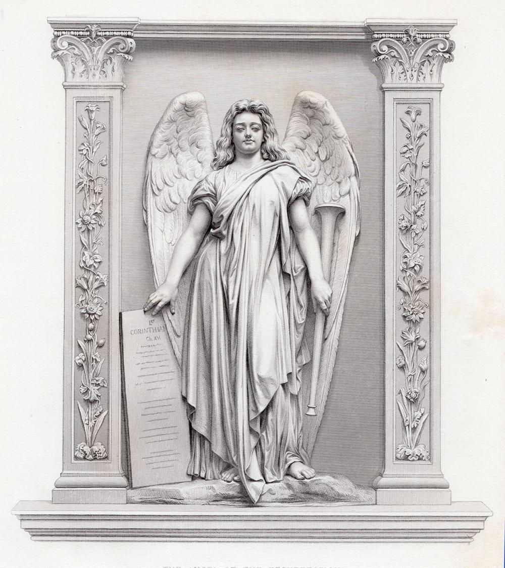 John Adams Action 1878 engraving The Angel of the Resurrection signed